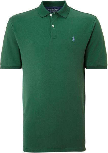 Ralph lauren golf contrast collar polo shirt in green for for Dark green mens polo shirt