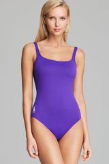 Ralph Lauren Blue Label Classic Pony Martinique Tank One Piece Swimsuit - Lyst