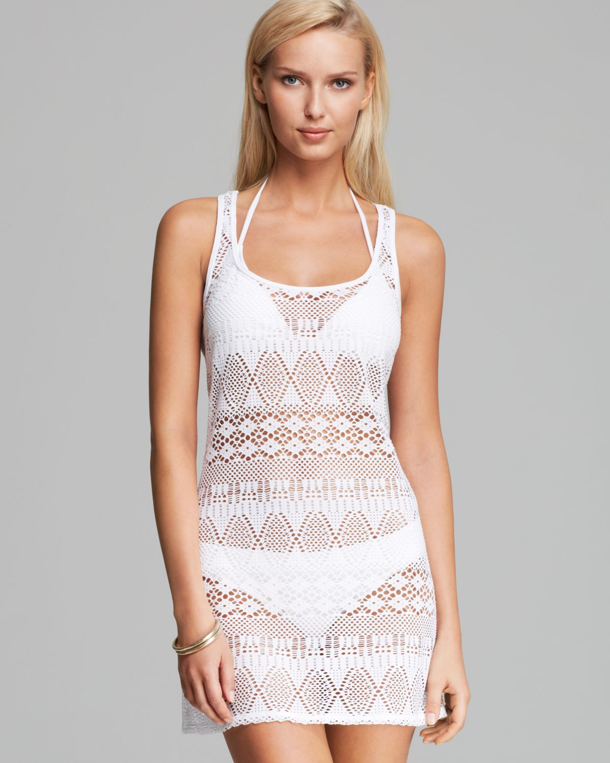 Ralph Lauren Blue Label Oasis Crochet Tank Dress Swim Cover Up In