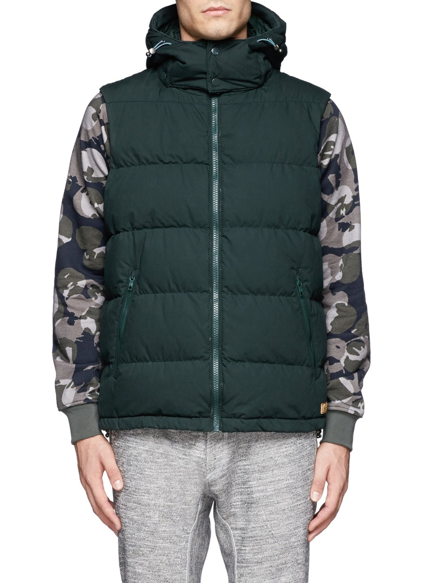 scotch soda detachable hood down gilet vest in green for men blue and green lyst. Black Bedroom Furniture Sets. Home Design Ideas