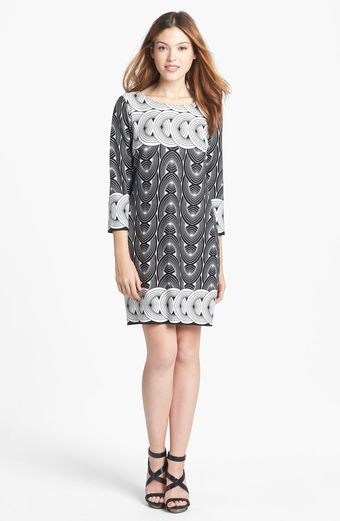 Taylor Dresses Print Ponte Knit Shift Dress - Lyst