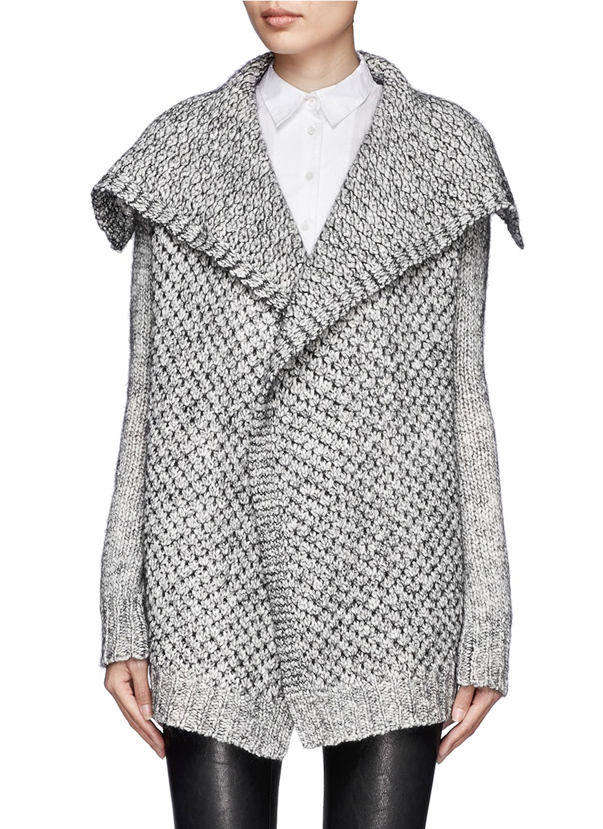 Theory Winxie Chunky Wool-blend Open Cardigan in Gray | Lyst