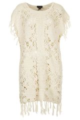 Topshop Fringed Crocheted Coverup - Lyst