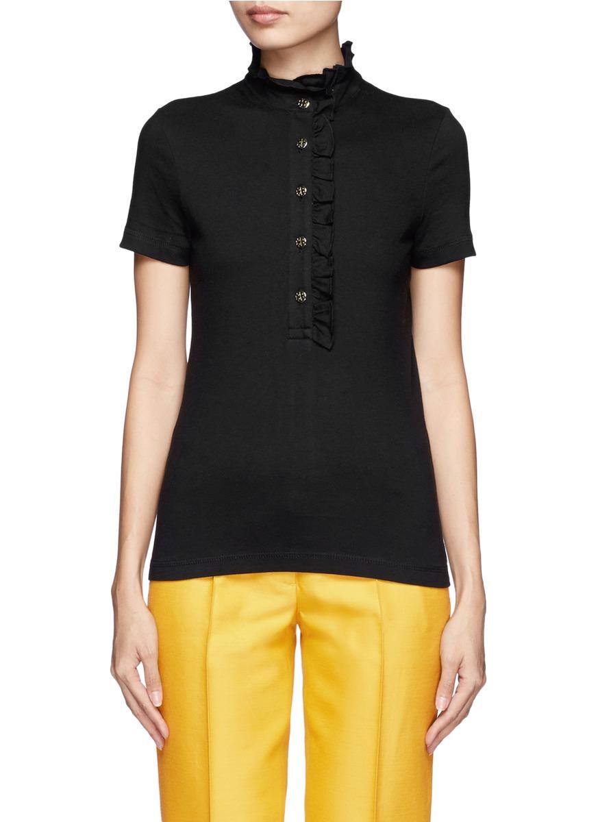 Tory Burch Lidia Ruffled Polo Shirt In Black Lyst