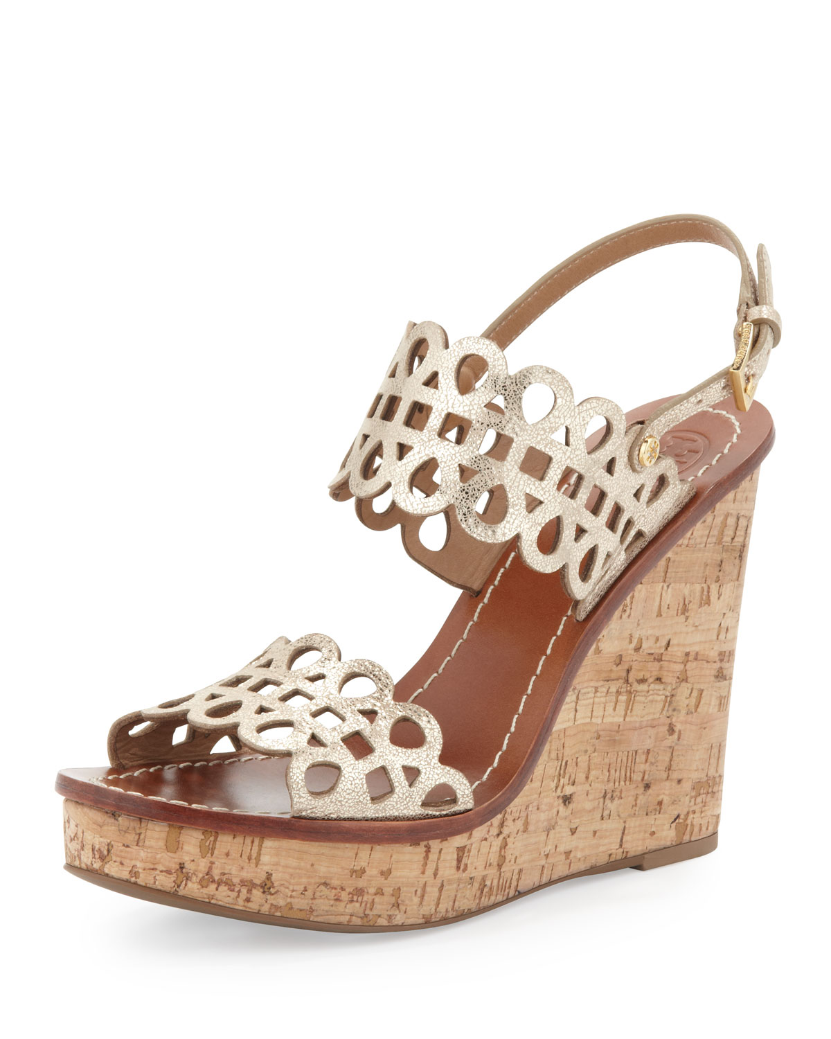Laser Cut Gold Platinum: Tory Burch Nori Lasercut Wedge Sandal Platinum In Gold
