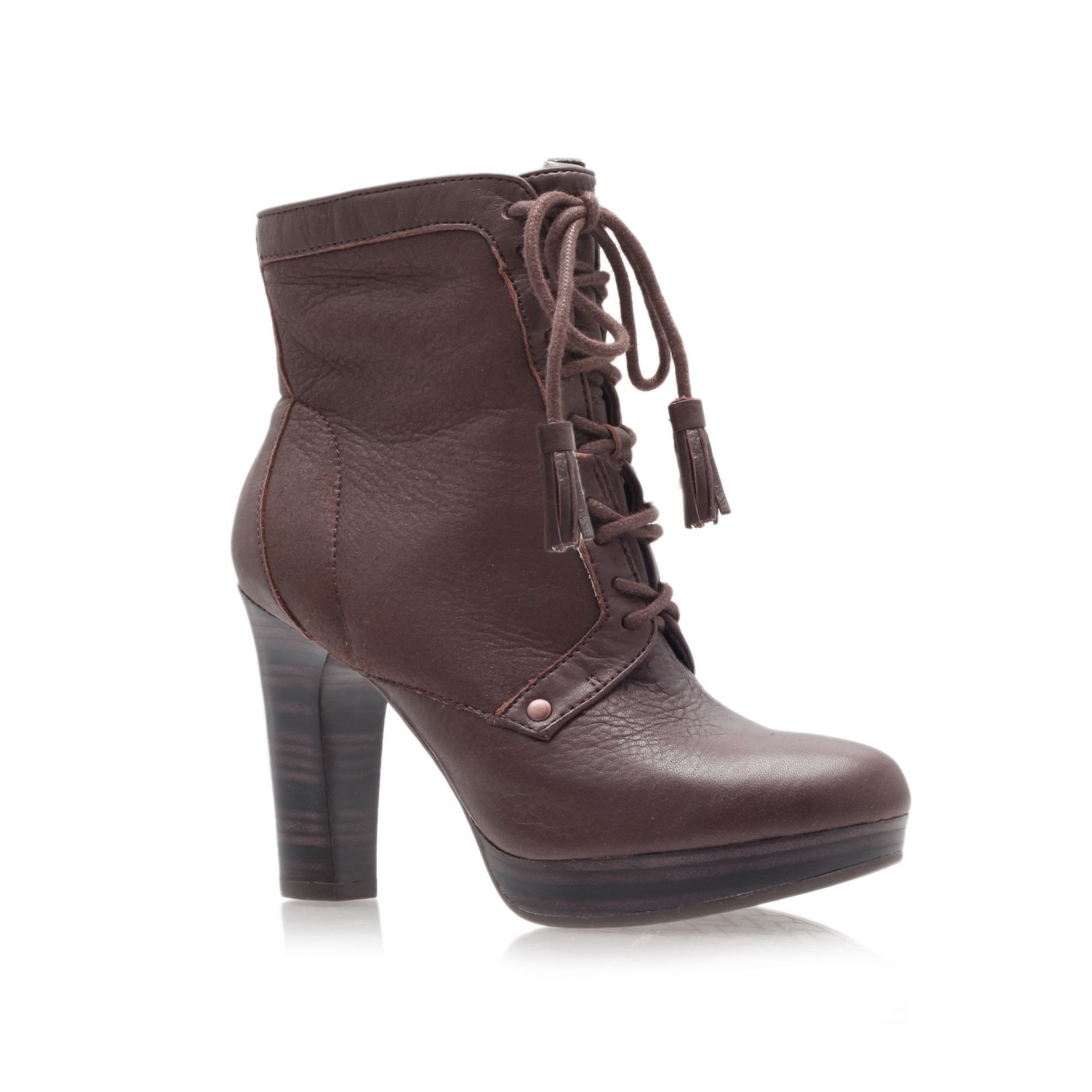 ugg shezbie high heel ankle boots in brown lyst