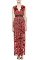 Alice + Olivia Fayeth Printed Leatherwaist Maxi Dress Alice Olivia - Lyst