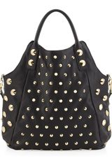 Be & D Garbo Studded Convertible Tote Bag In Black - Lyst