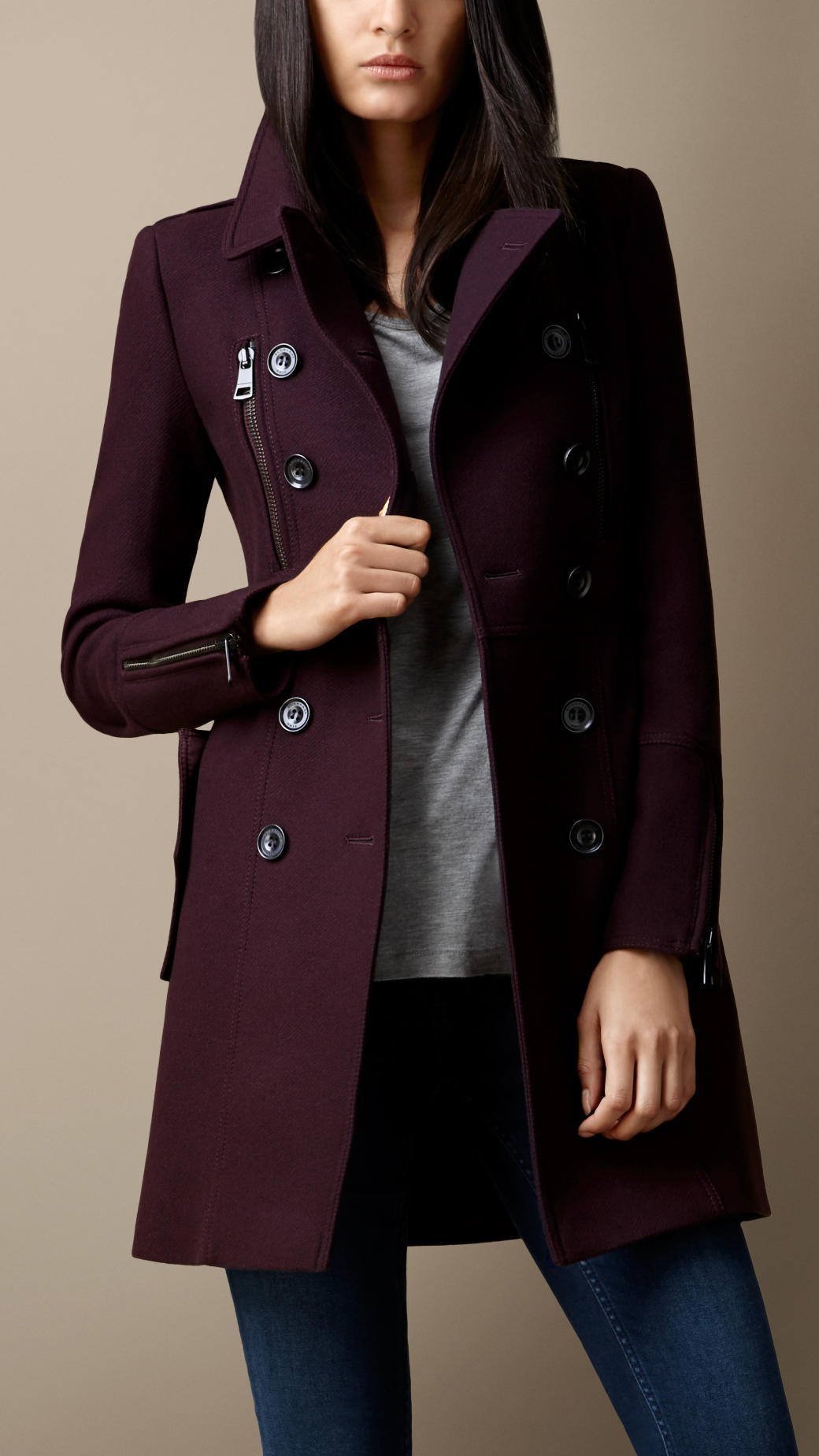Lyst burberry double wool twill zip detail coat in red for Burberry damen mantel