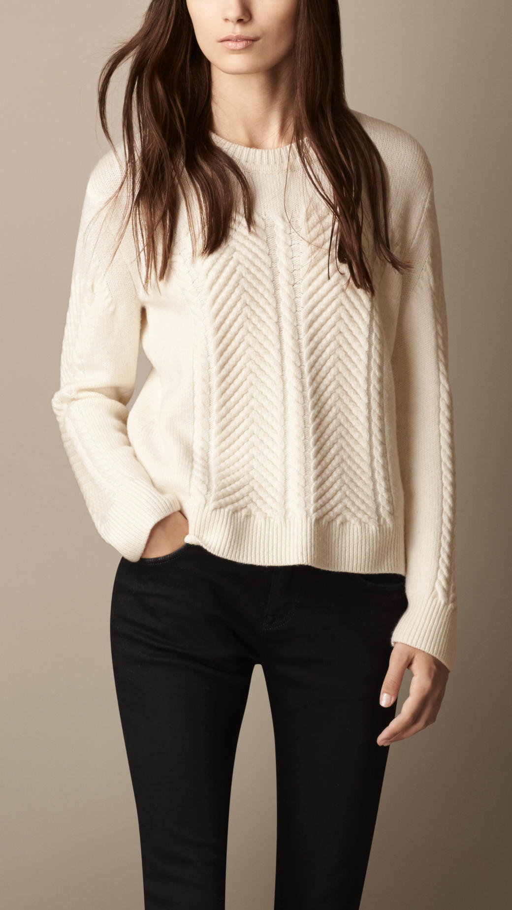 Lyst Burberry Merino Wool Cable Knit Sweater In Natural