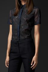 Burberry Sheer Organza Lace Shirt - Lyst