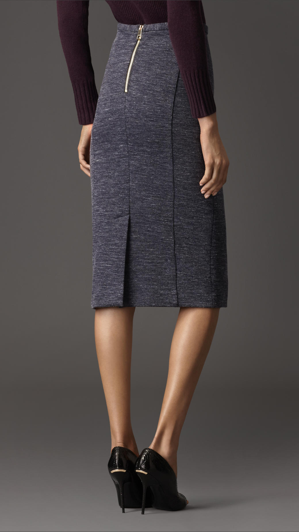 Burberry Wool Melange Pencil Skirt in Blue | Lyst