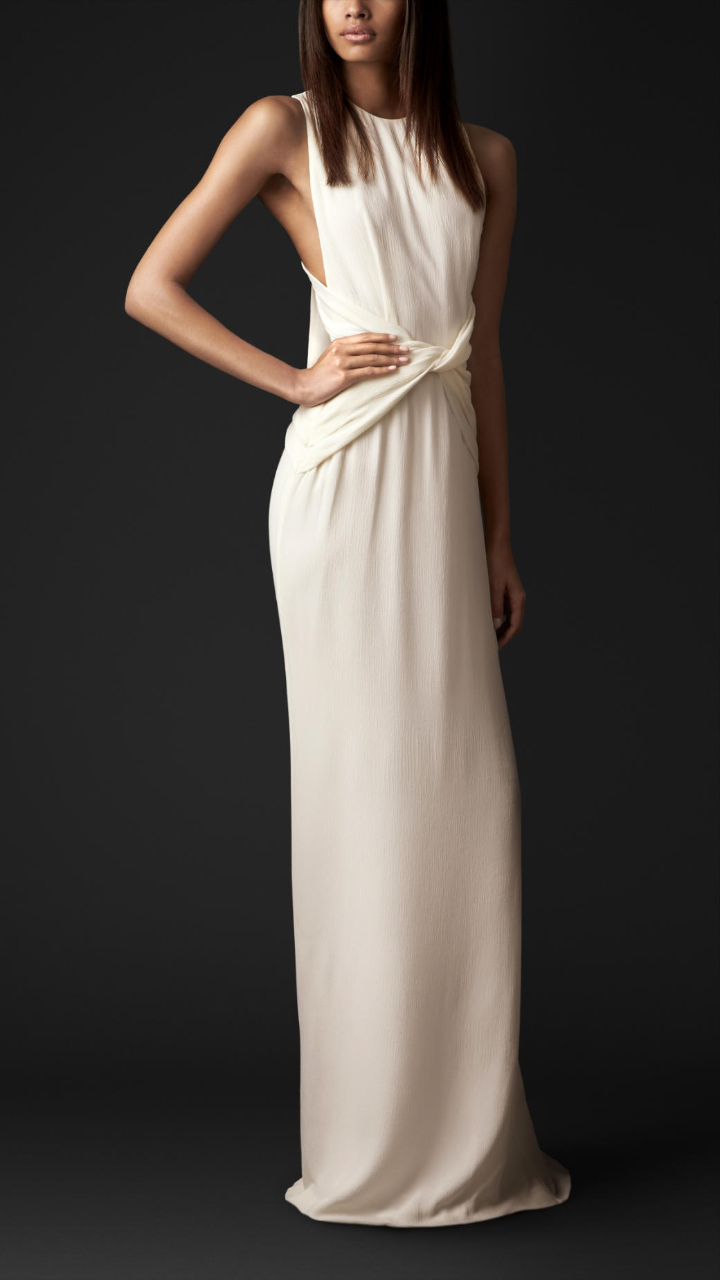 Lyst - Burberry Bow Back Silk Gown in White
