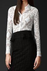 Burberry English Lace Fitted Shirt - Lyst