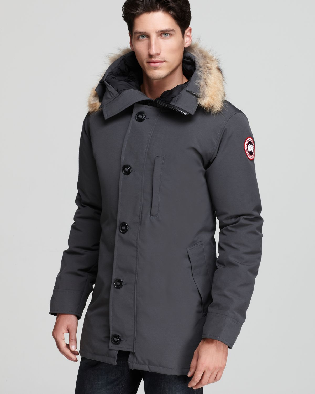 Canada Goose kensington parka outlet authentic - Canada goose Chateau Parka with Fur Hood in Gray for Men (Graphite ...