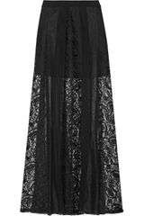 DKNY Paneled Lace and Silkblend Chiffon Maxi Skirt - Lyst
