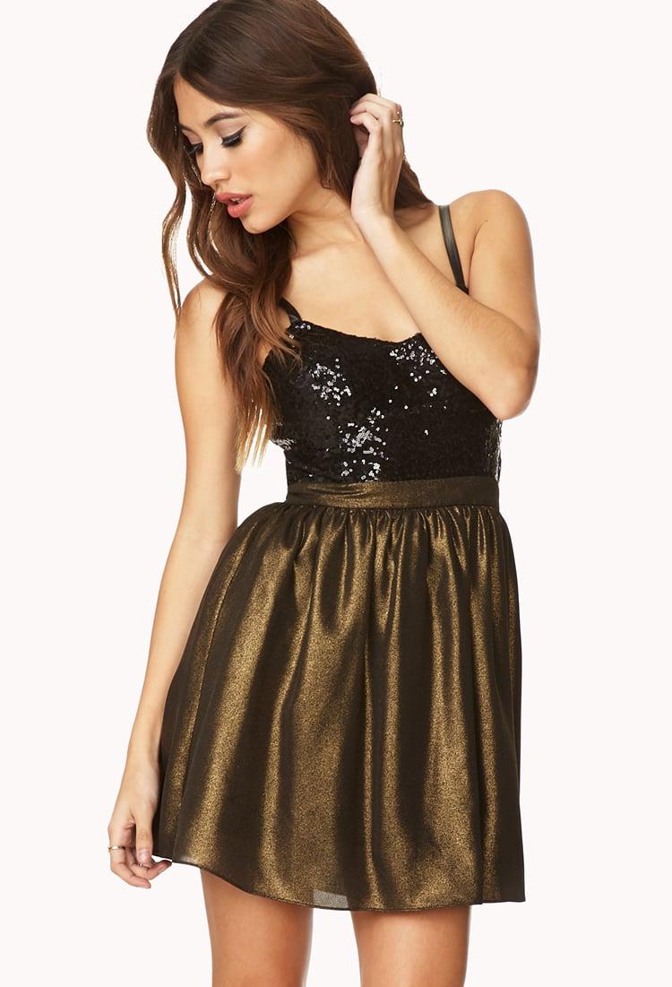 Lyst Forever 21 Glamorous Combo Dress In Metallic