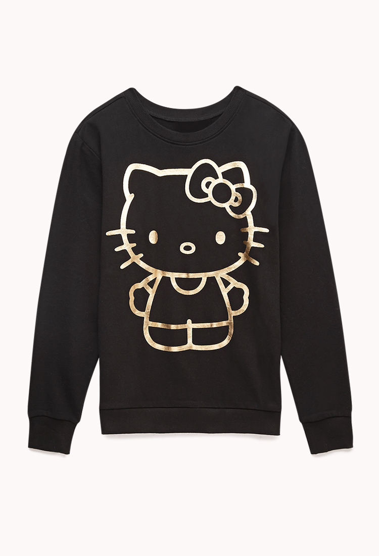 Forever 21 Metallic Hello Kitty Sweatshirt In Black Lyst