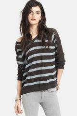 Free People Stripe Pointelle Dolman Sleeve Sweater - Lyst