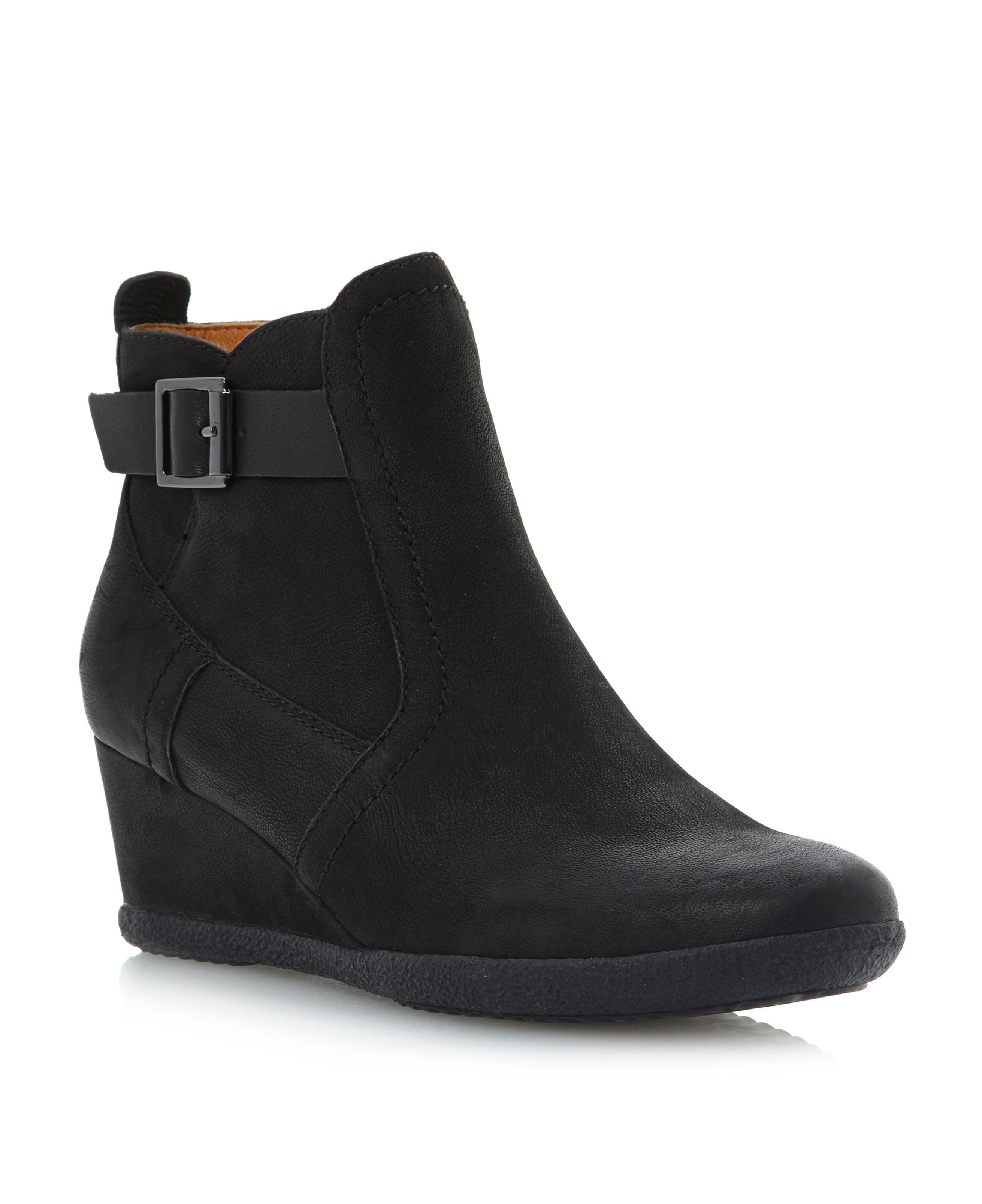 geox amelia side buckle wedge bootsy in black black suede