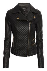 Jane Norman Quilted Pu Biker Jacket - Lyst