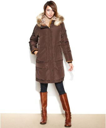 Jones New York Hooded Fauxfurtrim Quilted Puffer - Lyst