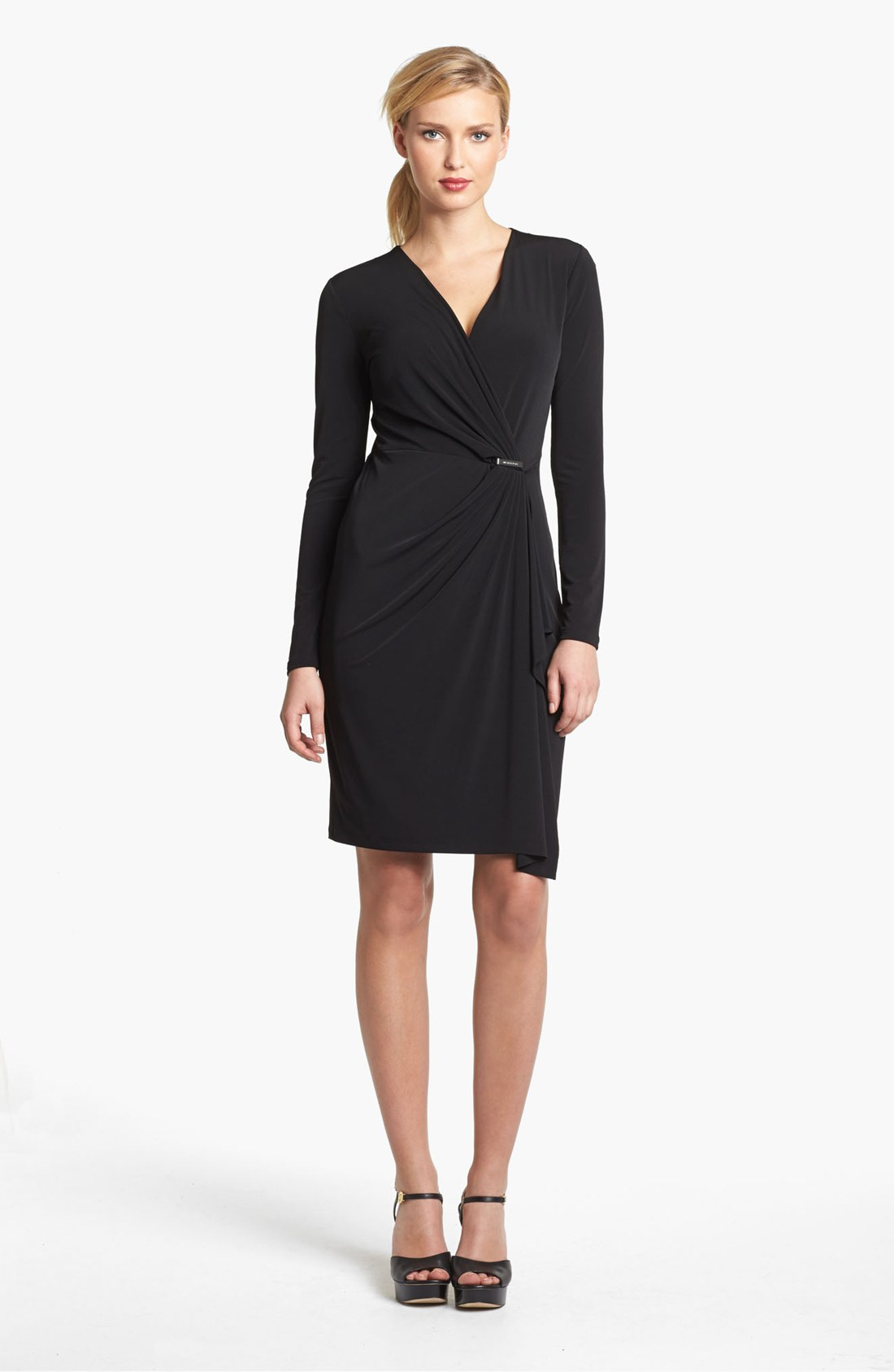 Michael Michael Kors Faux Wrap Dress In Black Lyst