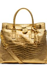 Michael by Michael Kors Large Hamilton Crocodileembossed Tote - Lyst