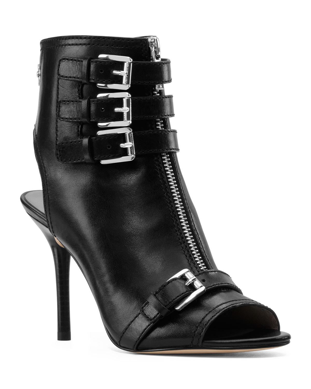 michael kors michael roswell peeptoe ankle boot in black. Black Bedroom Furniture Sets. Home Design Ideas