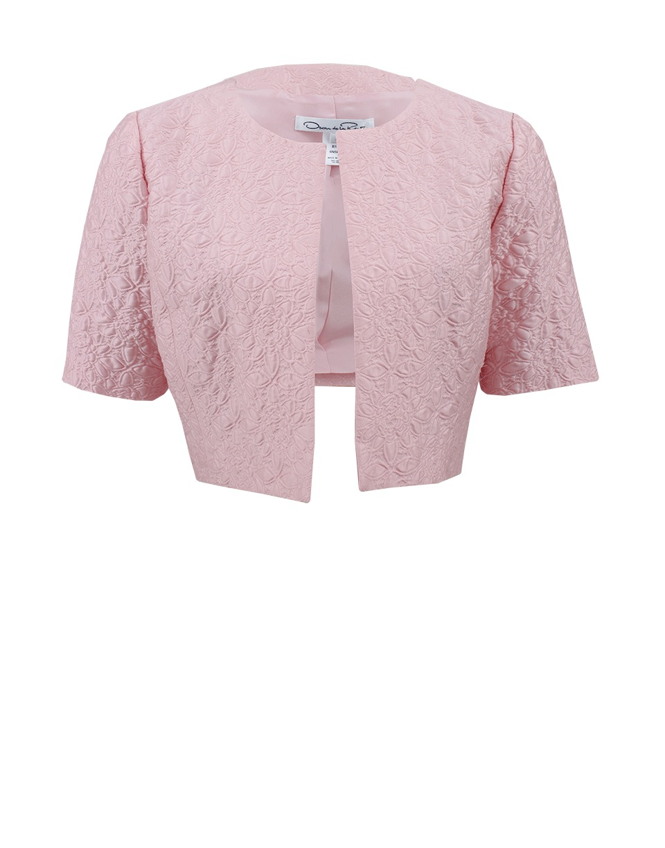 Oscar de la renta Short Sleeve Cropped Jacket in Pink | Lyst