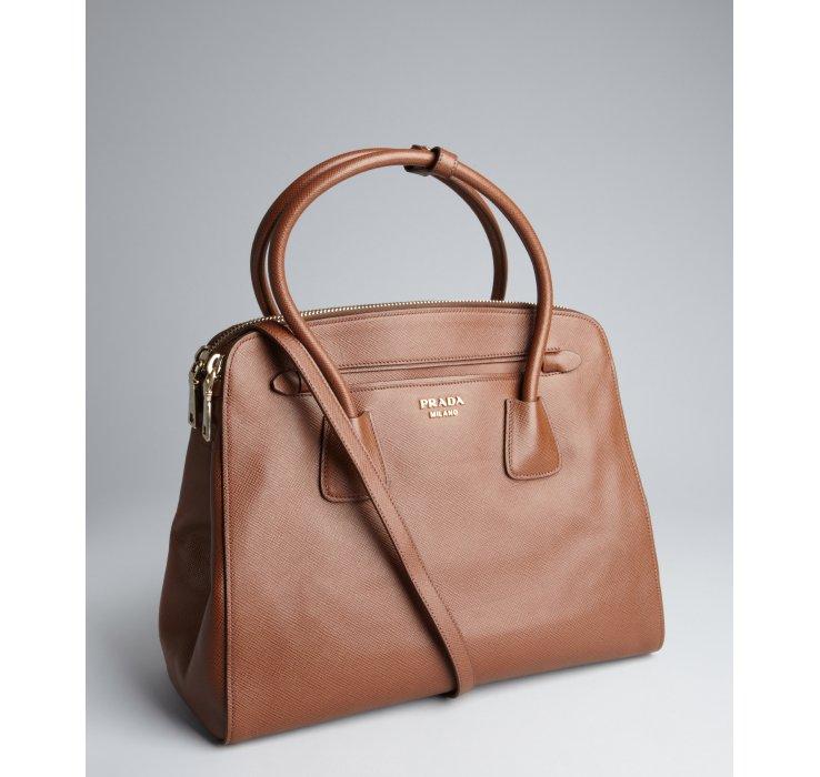 prada weekend brown leather bag