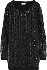 Saint Laurent Embellished Cableknit Wool Sweater Dress - Lyst