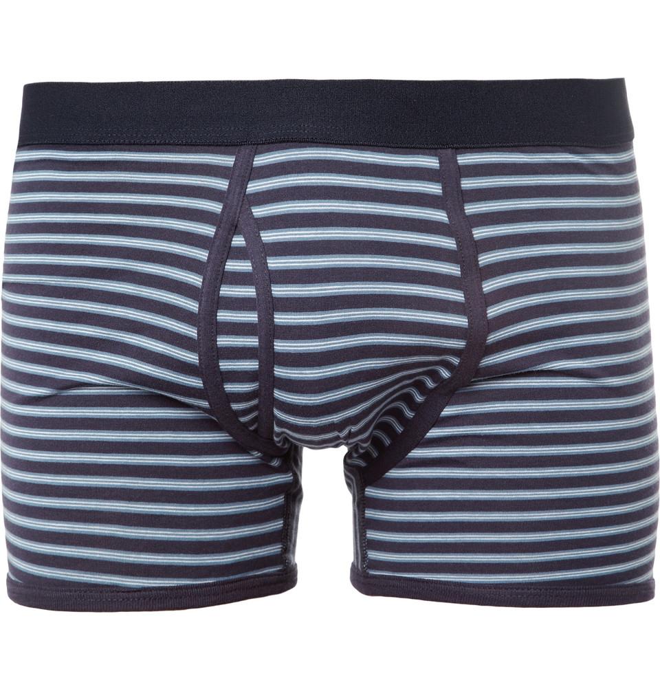Sunspel Striped Cotton Boxer Briefs in Blue for Men