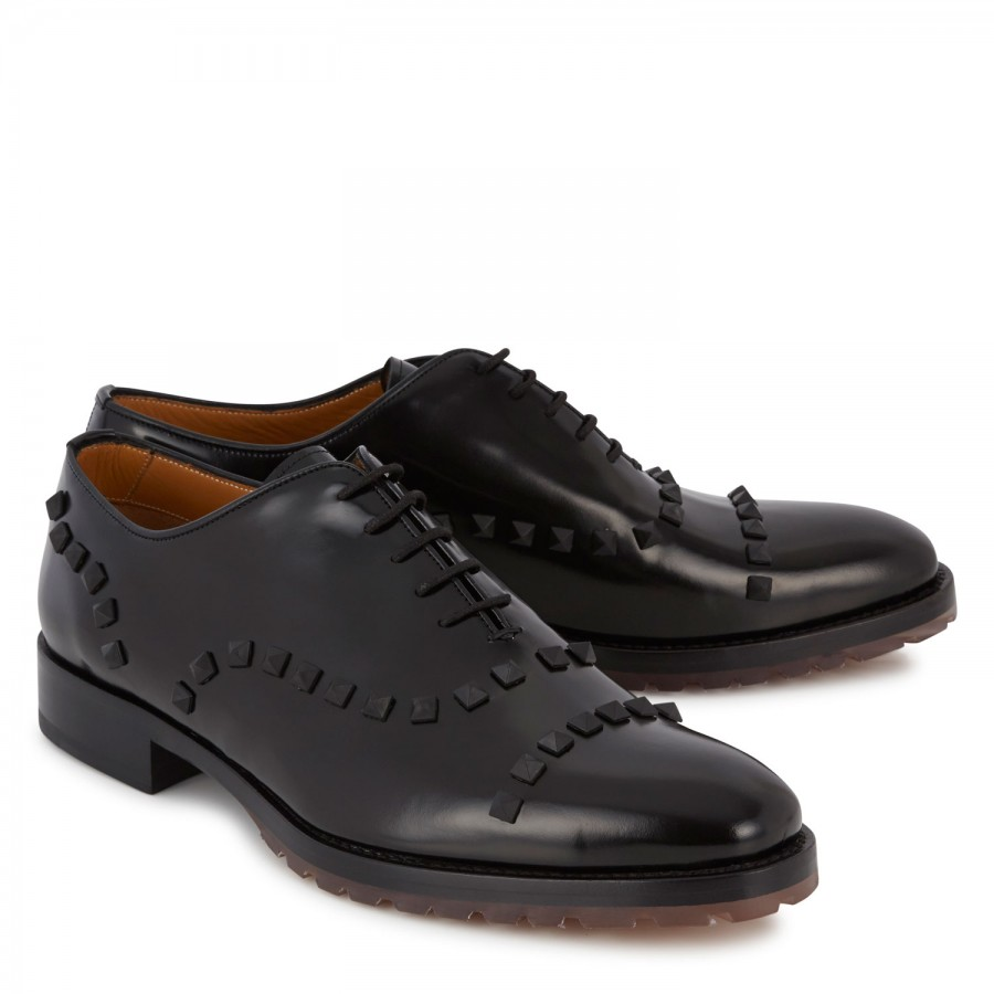 Valentino Rockstud Derby Shoes in Black for Men - Save 10% ...