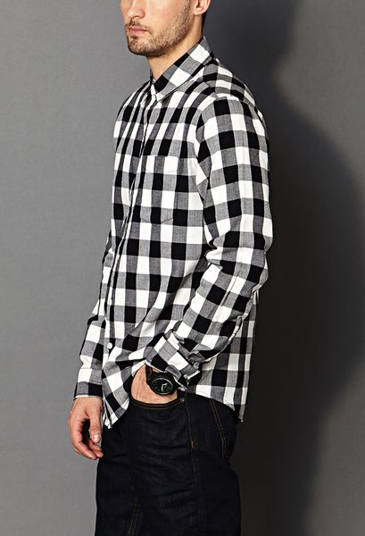 Forever 21 Classic Fit Buffalo Plaid Shirt In Black For