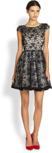 Alice + Olivia Aubree Fitflare Beaded Lace Dress - Lyst