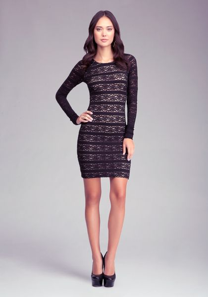 Bebe Pencil Stripe Lace Dress In Black Lyst