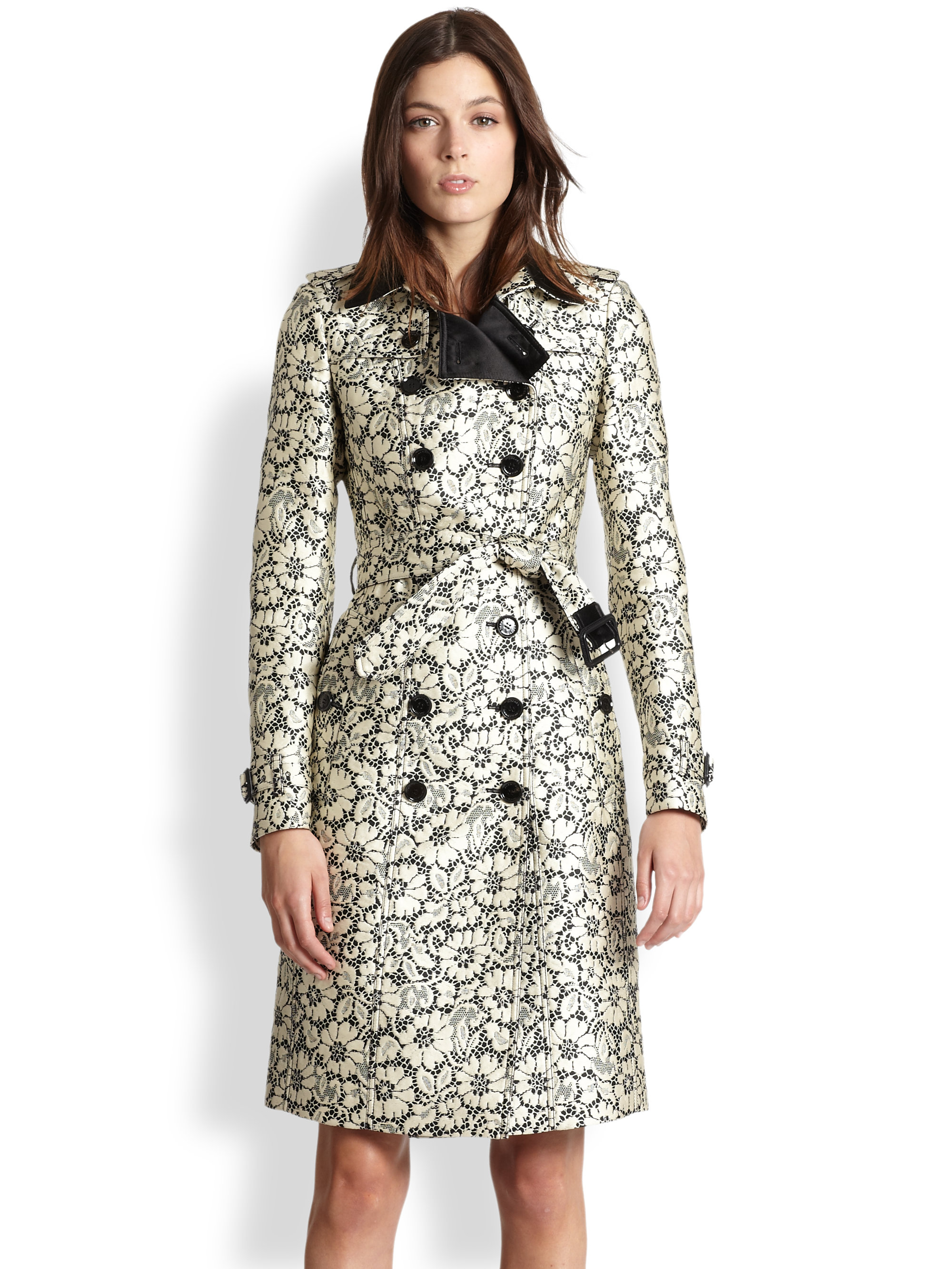 Lyst Burberry Brocade Lace Trench Coat In Black