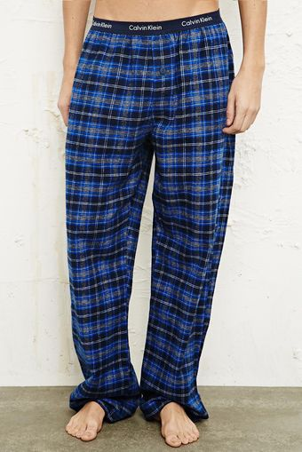 Calvin Klein Pyjama Trousers in Blue Check Print - Lyst