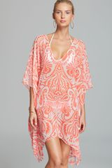 Echo Block Print Caftan Swim Coverup - Lyst