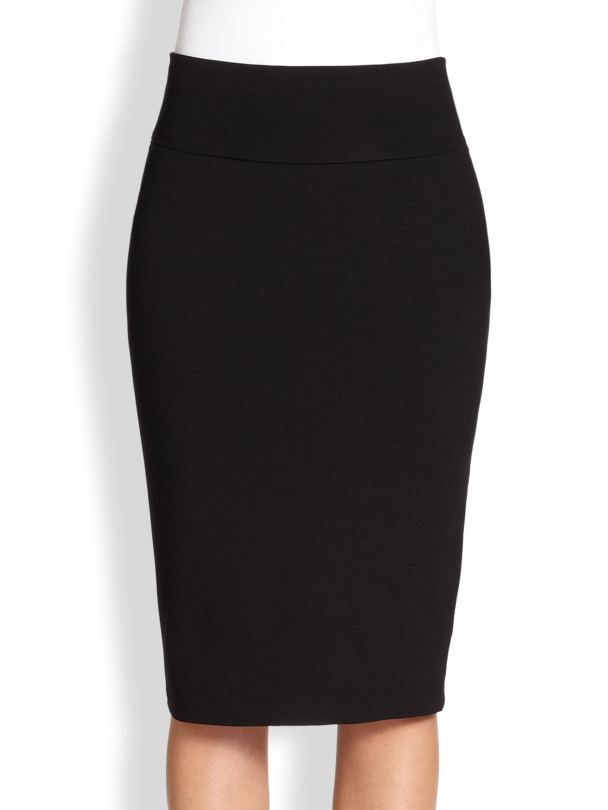Eileen Fisher Knit Pencil Skirt in Black | Lyst