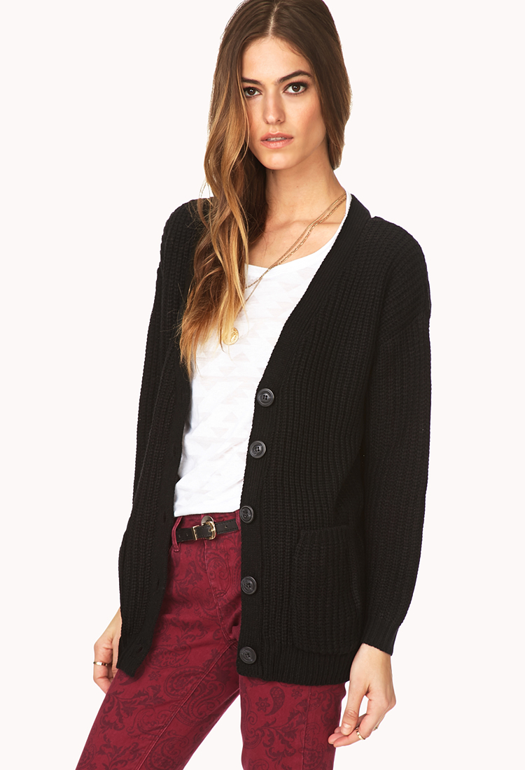 Forever 21 Standout Cable Knit Cardigan in Black | Lyst