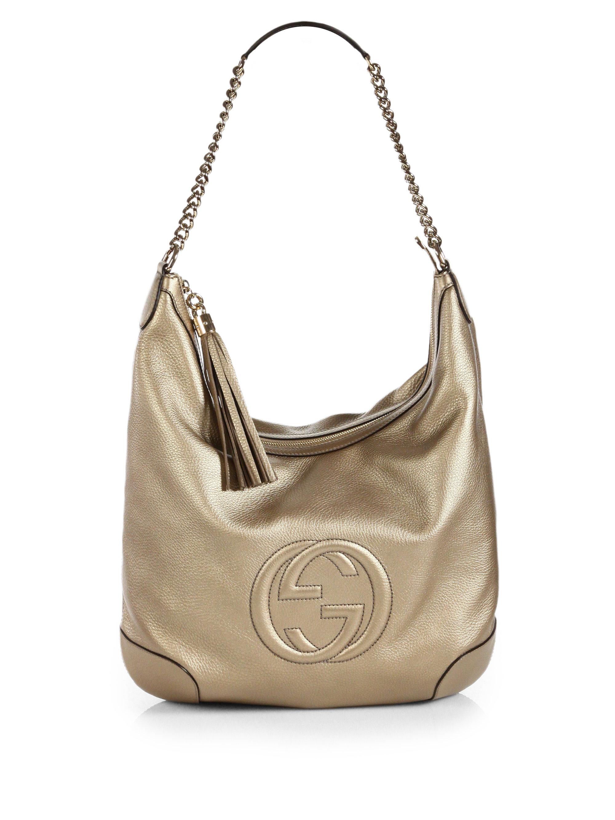 c0ca90caa18 Lyst - Gucci Soho Metallic Leather Chain Shoulder Bag in Metallic