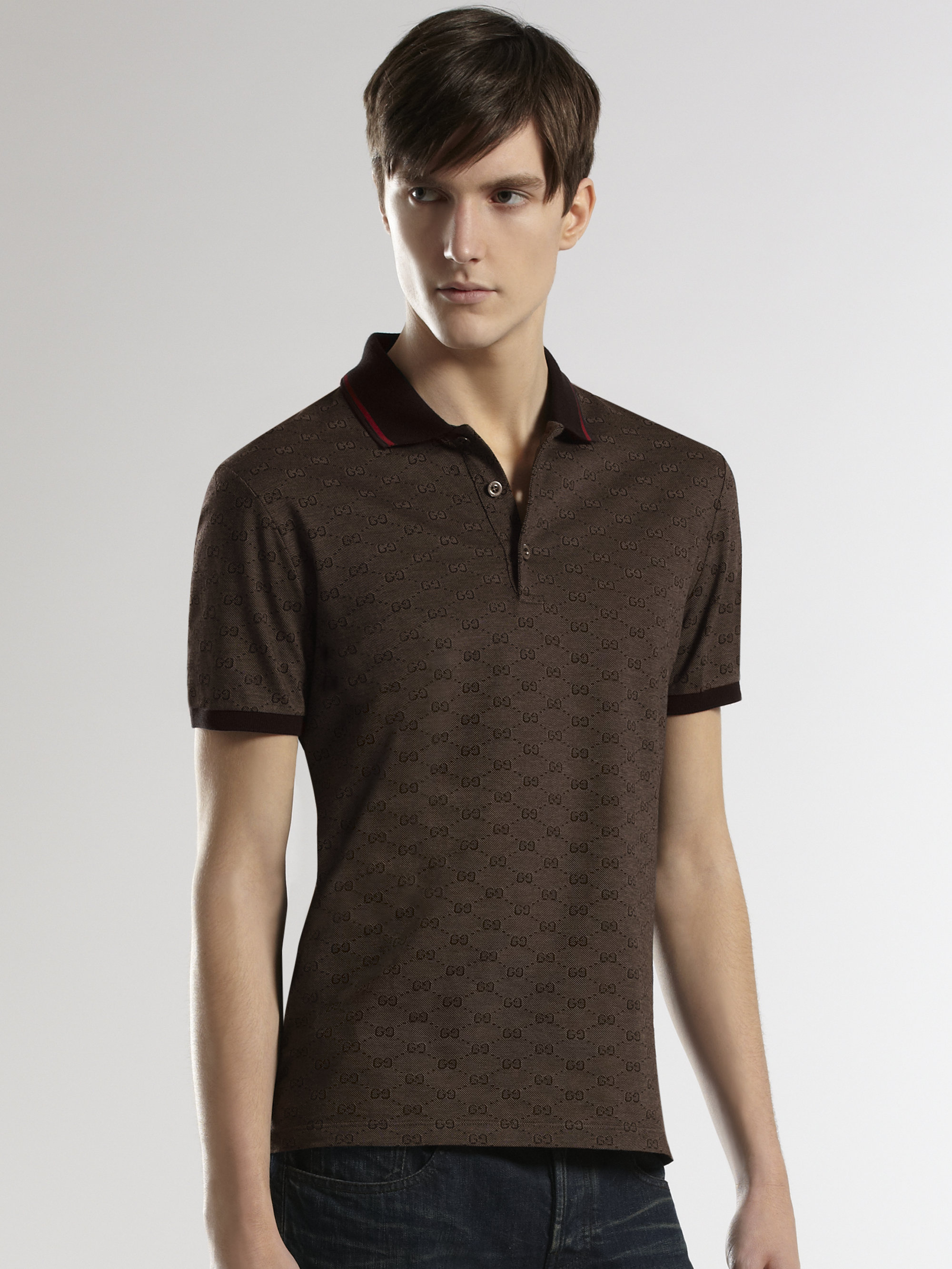 c2bca094c Gucci Piqué Polo in Brown for Men - Lyst