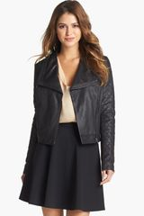 Halogen Quilted Leather Jacket - Lyst