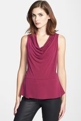 Halogen Sleeveless Drape Front Top - Lyst