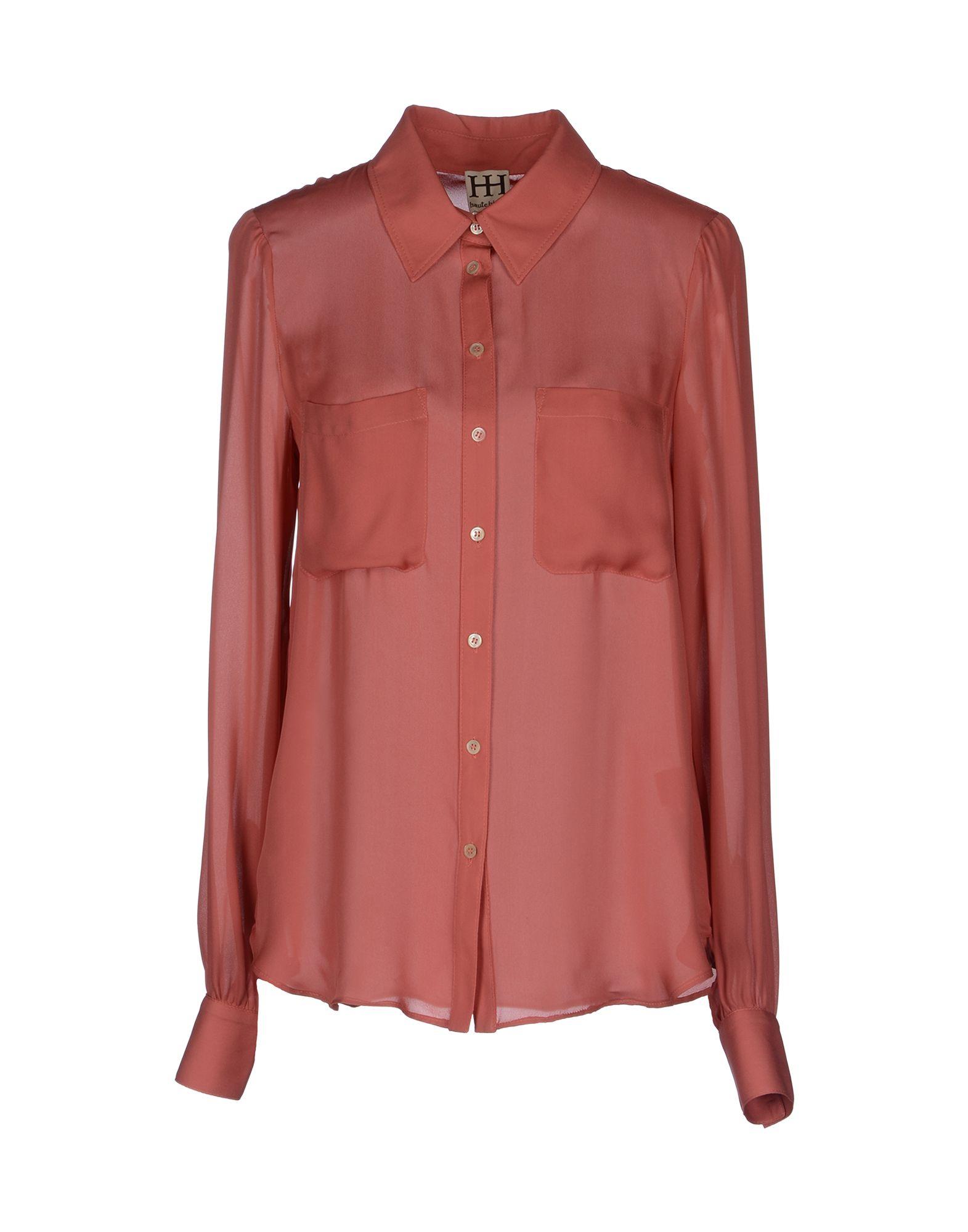 Haute Hippie Long Sleeve Shirt In Orange Pastel Pink Lyst