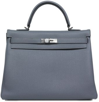 Hermes 35cm Blue Lin Togo Kelly with Palladium - Lyst