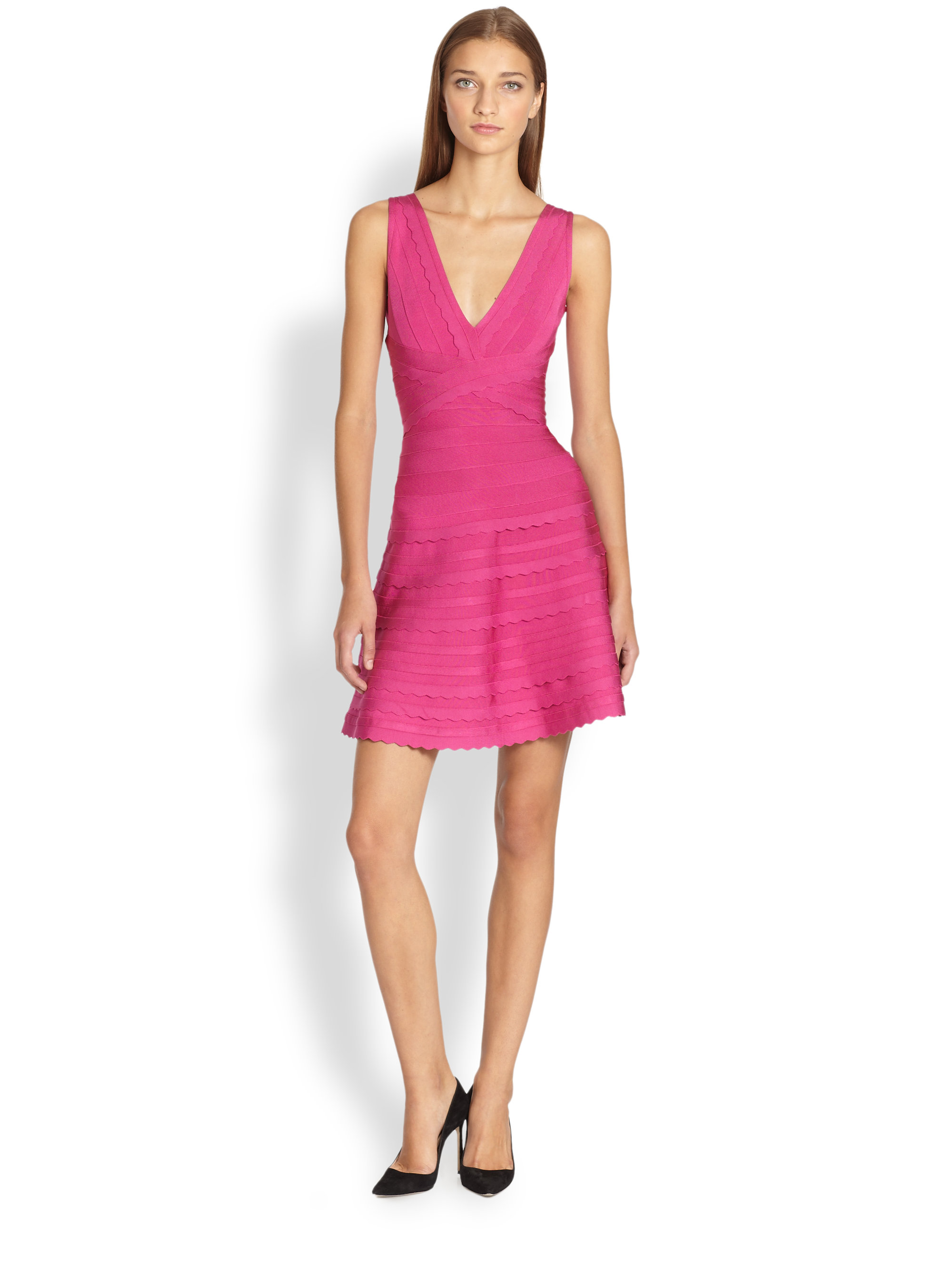 Hervé léger Scalloped A-line Dress in Pink | Lyst