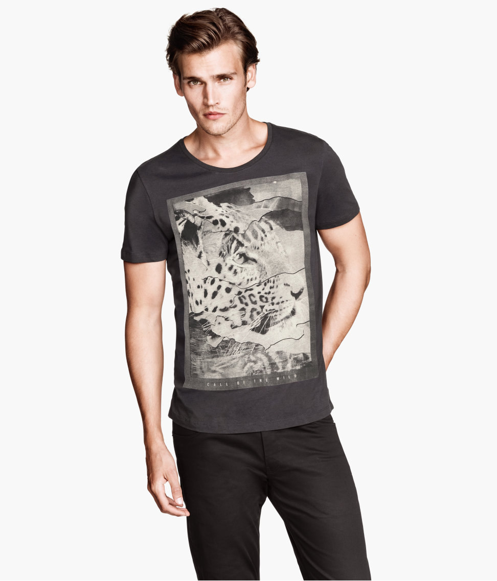 H&m T-Shirt with A Print in Black for Men